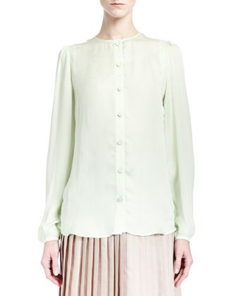 Collarless Silk Charmeuse Blouse, Pale Green