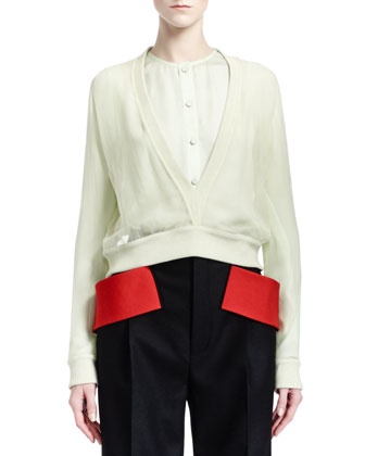 Long-Sleeve Deep-V Silk Chiffon Top, Pale Green