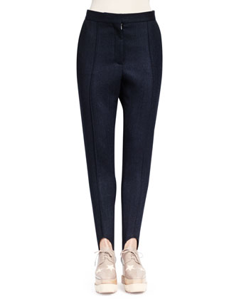 Relaxed Narrow-Leg Stirrup Pants, Midnight