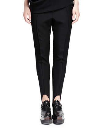 Relaxed Narrow-Leg Stirrup Pants, Black