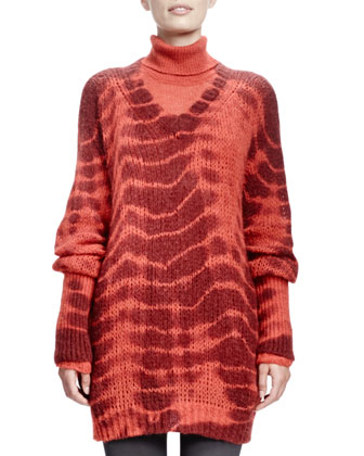 Long-Sleeve V-Neck Tie-Dye Sweater, Burned Orange