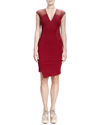 Cap-Sleeve V-Neck Wave-Shoulder Sheath Dress, Ruby
