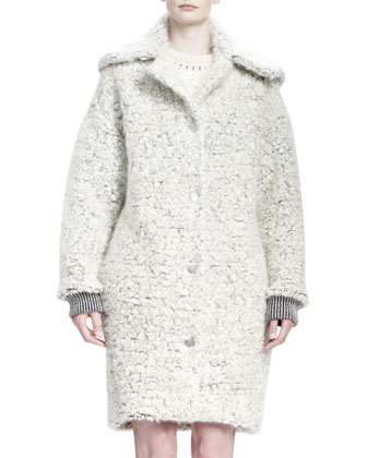Soft Wooly Boucle Caban Coat, Natural White