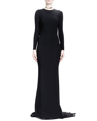Long-Sleeve Gown with Fringe-Covered Open Back