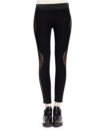 Wave-Illusion Leggings, Black