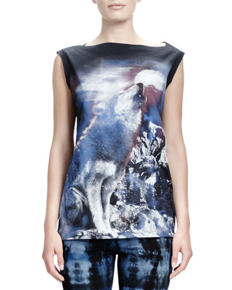 Howling Wolf-Print Tee, Midnight