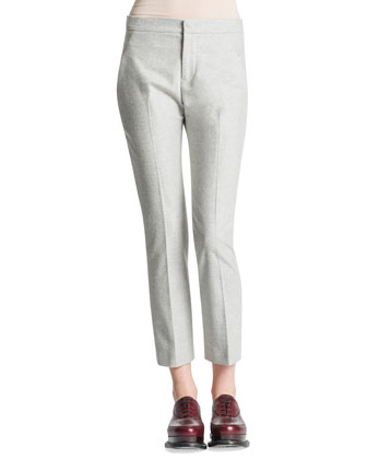 Slim-Leg Back-Yoke Flannel Pants, Gray