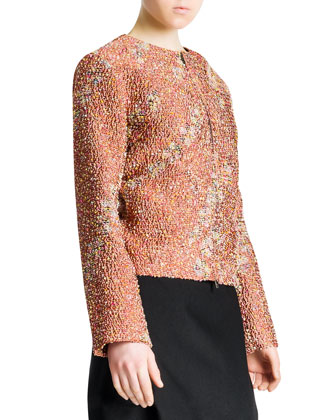 Confetti Floral Boucle Zip Jacket, Terracotta