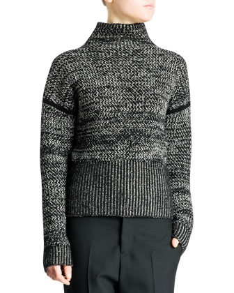 Funnel-Neck Bicolor Tweed Cashmere Sweater