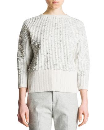 3/4-Sleeve Bubble-Stitch Sweater, Ivory