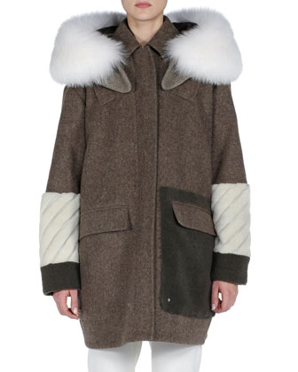 Hooded Mixed-Fur and Fleece Coat