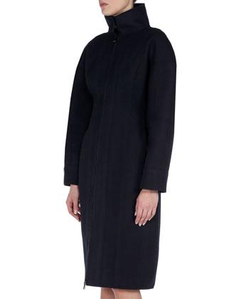 Mock-Neck Nipped-Waist Zip Coat