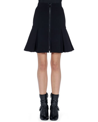 Zip-Front Dropped-Pleat Skirt