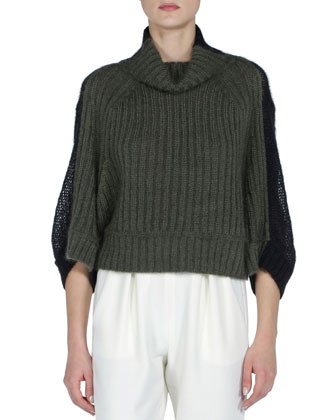 Colorblock Ribbed-Front Short Sweater