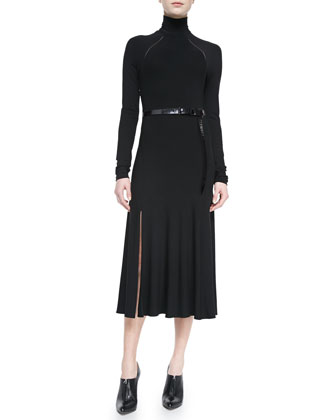 Belted Turtleneck Dress, Black