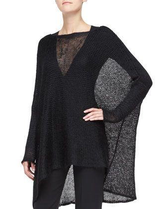 Long-Sleeve Poncho Top, Black
