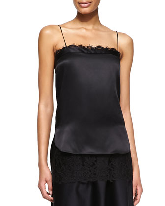 Lace-Trim Satin Cami Top, Black