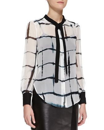Printed Long-Sleeve Tie-Neck Blouse, Black/White