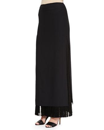 Long Fringe Skirt, Black