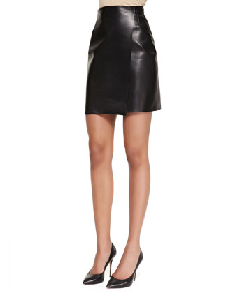 Short Leather Wrap Skirt, Black
