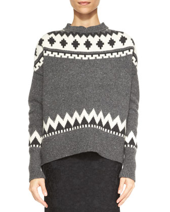 Fair Isle Crewneck Sweater, Charcoal/Ivory
