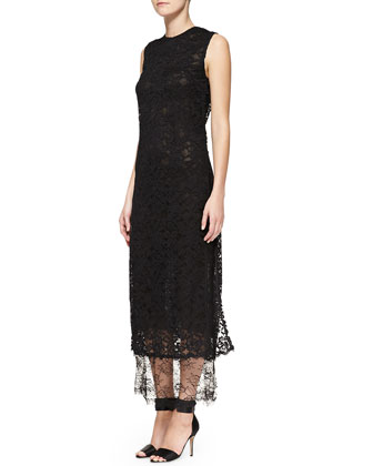 Sleeveless Double-Layer Lace Midi Gown, Black