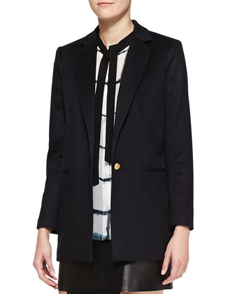Long Single-Button Cashmere Blazer, Midnight