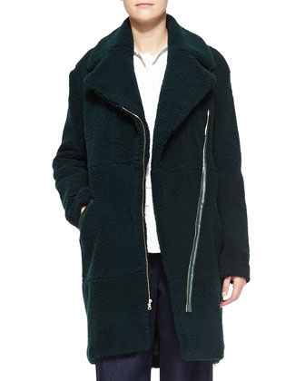 Long Shearling Moto Coat, Green