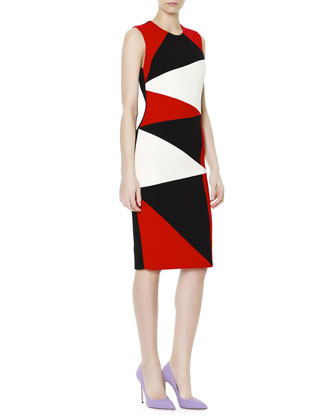 Zigzag Colorblock Sheath Dress