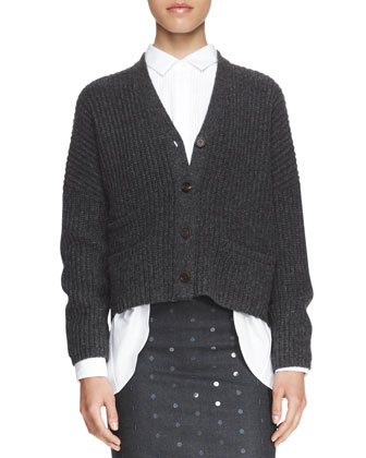 Boxy Ribbed Boyfriend Cardigan