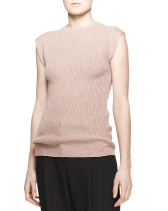 Sequined Ribbed Cashmere-Silk Cap-Sleeve Sweater