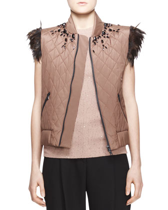 Embellished Feather-Trim Vest