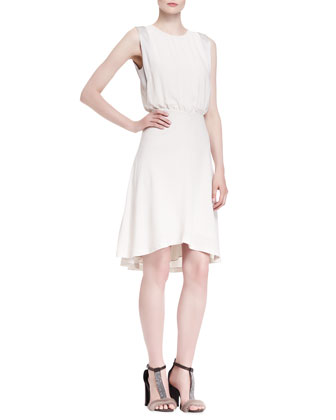 Jewel-Neck Blouson High-Low Silk Dress