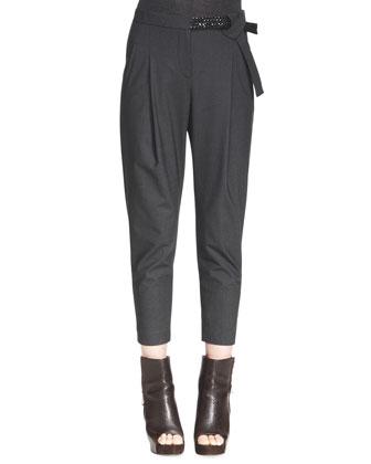 Embellished-Belt Ankle Trousers