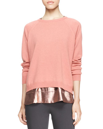 Long-Sleeve Boxy Crewneck Cashmere Sweater