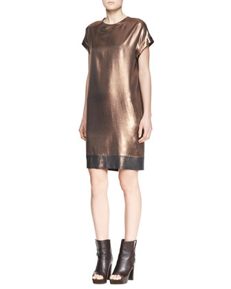 Metallic Shift Dress with Border