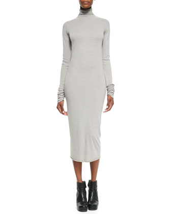 Long-Sleeve Turtleneck Knit Dress, Pearl