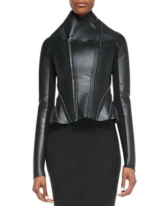 Asymmetric Leather/Ponte Flared Jacket