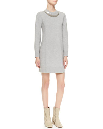 Sequined-Neck Sweaterdress