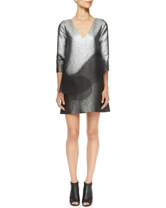 Metallic Minidress with Swirling Peplum