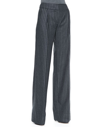 Wide-Leg Pinstripe Trousers