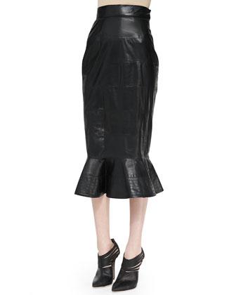 Leather Midi Skirt with Peplum Flare, Black