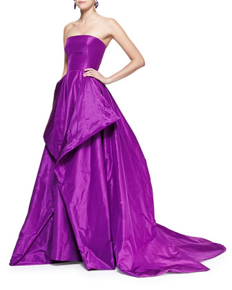 Strapless Fold-Detail Ball Gown
