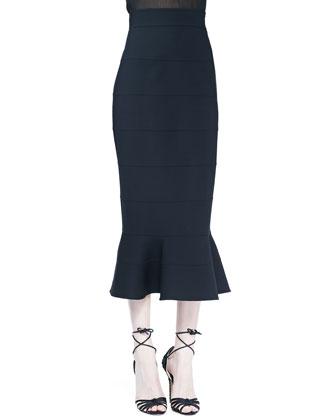 Midi Skirt with Peplum Flare, Black