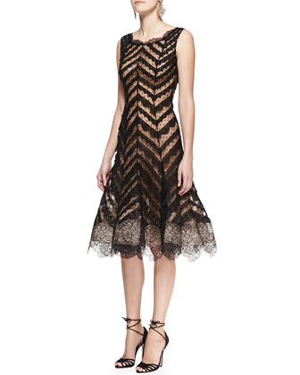 Sleeveless Chevron Lace Dress