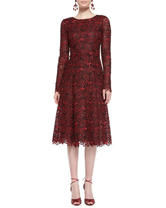Long-Sleeve Cutout-Lace Dress