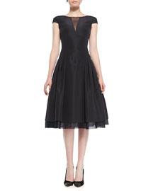 Cap-Sleeve Silk Faille Cocktail Dress