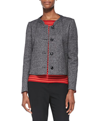 Roll-Collar Bonded Tweed Jacket, Black Multi