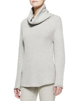 Basketweave Knit Cowl-Neck Sweater
