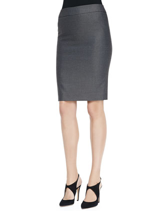 Birdseye Woven Wool-Silk Pencil Skirt